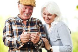 Seniors enjoying time on their smartphone