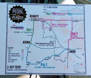 2018 route map for Pedal the Plains