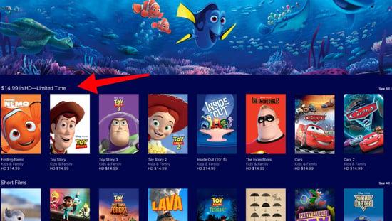 Disney Plus includes Pixar movies