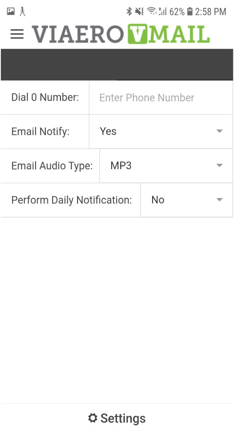 visual voicemail settings